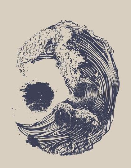 Skull Waves Illustration Illusion Beach Ocean Nautical.