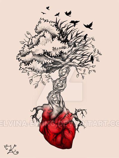 Tree Heart Birds DNA Tattoo by Elvina.