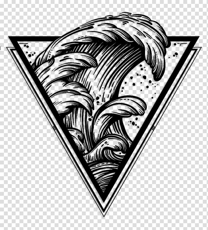 Black waves logo, The Great Wave off Kanagawa Drawing Wind.