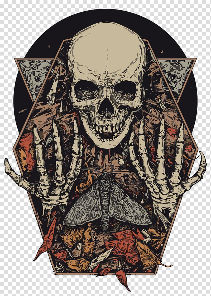 Gray and multicolored skeleton illustration, Visual arts.