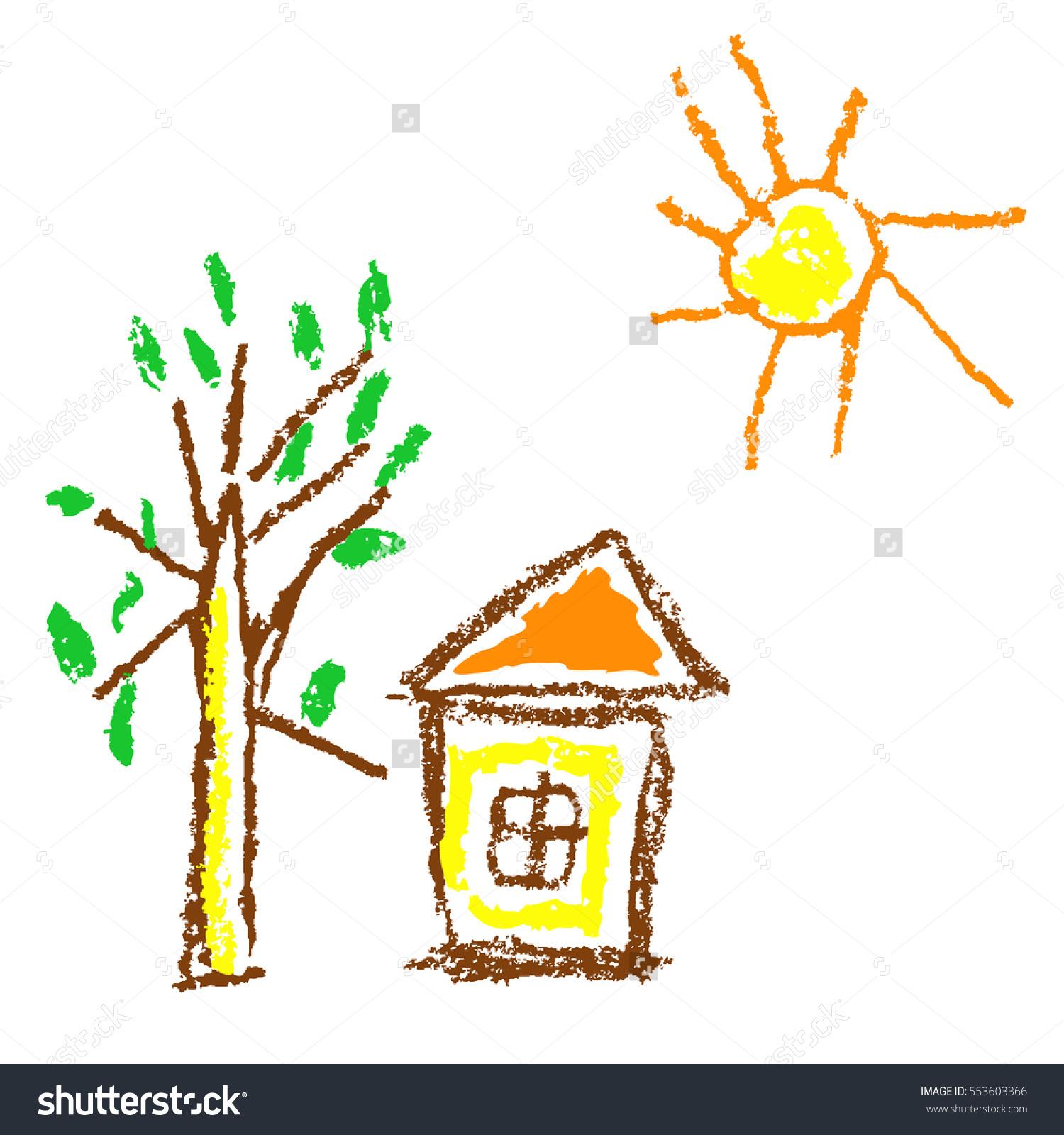 Wax Crayon Like Kids Hand Drawn Stock Vector 553603366.