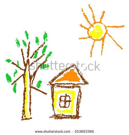 Wax Crayon Hand Drawn Autumn Tree Stock Vector 382685932.