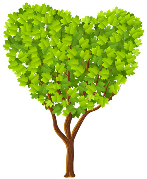 Green Heart Tree Transparent PNG Image.