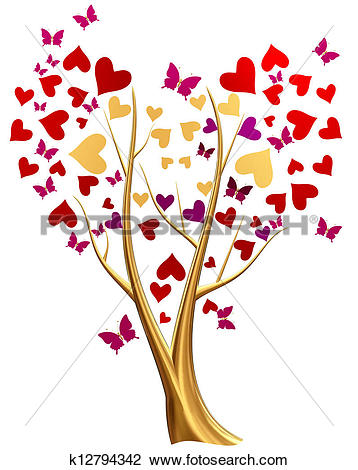 Drawing of golden tree with hearts and flowers k12794363.