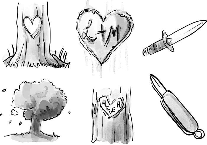 Heart Carved Tree Watercolor Vector Set.