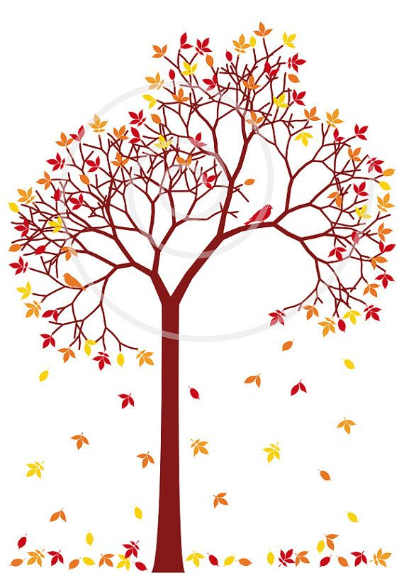 Autumn tree with colorful falling leaves and birds, digital.