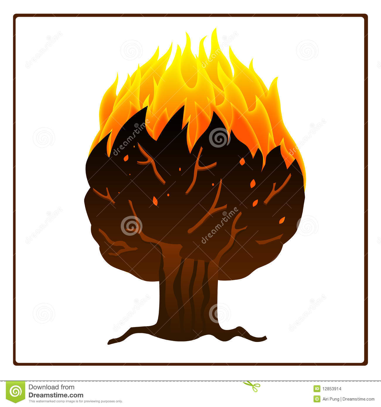 Tree On Fire Clipart.