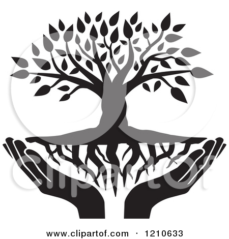 Clipart of a Black and White Tree with Roots and Uplifted Hands.