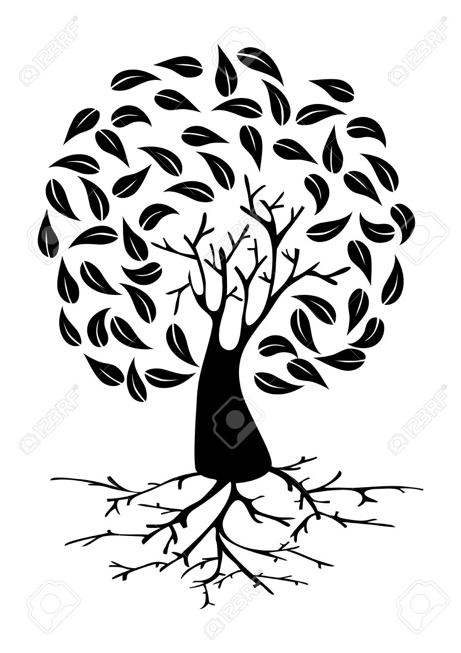 Tree With Long Roots And Circle Foliage Silhouette. Vector File.
