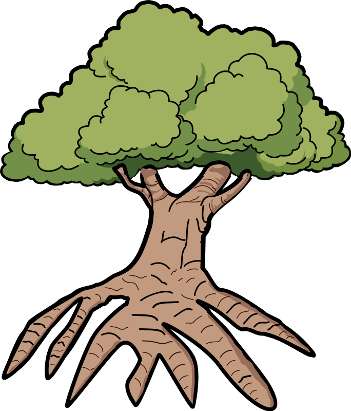 Tree With Long Roots Clipart.