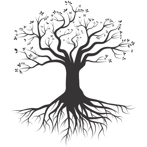 Tree Root Silhouette Drawing.