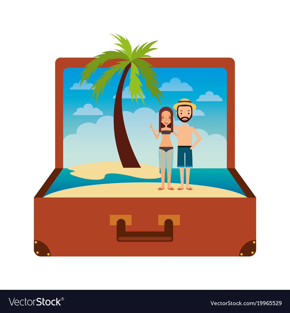 Vintage suitcase couple inside with beach palm.