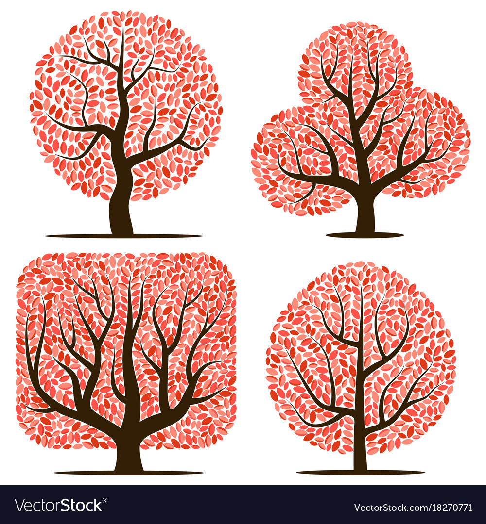 Four trees with red leaves.