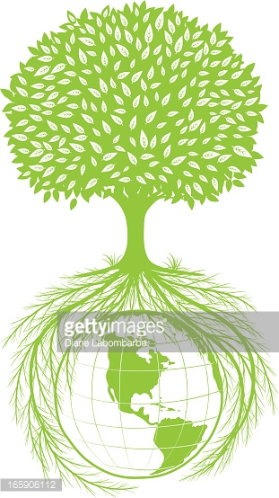 Tree And Roots Around The Earth Vector Art.