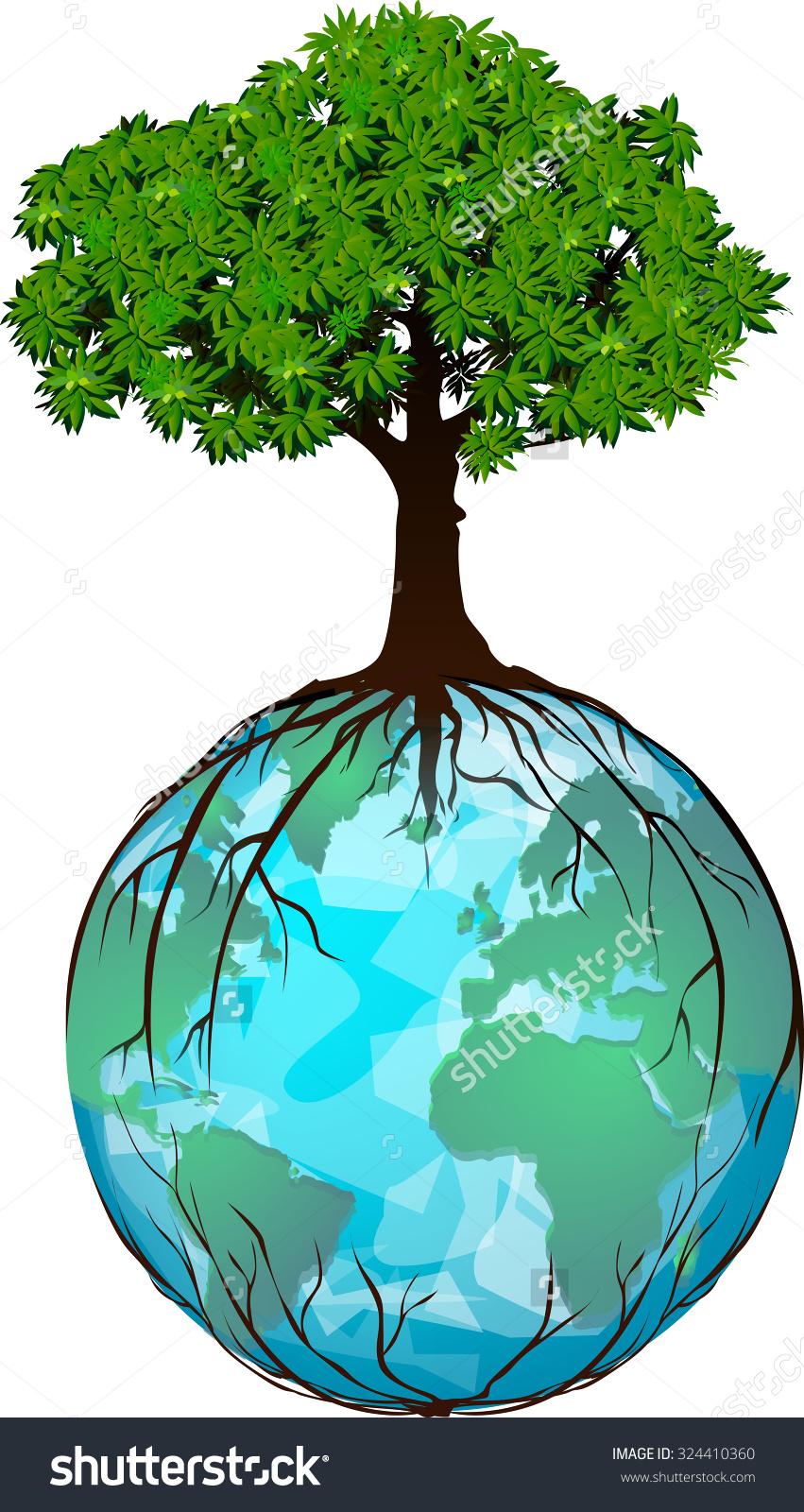 Tree Location On Globe Roots Around Stock Vector 324410360.