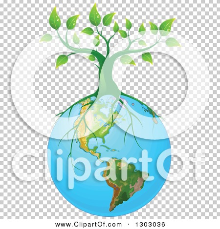 Clipart of a Green Tree with Roots Spreading on Planet Earth.