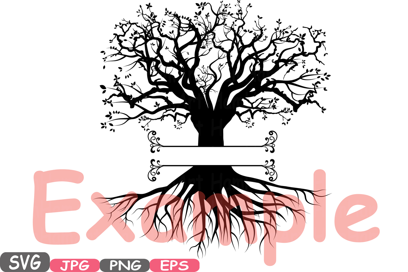 Family Tree With Roots Silhouette.