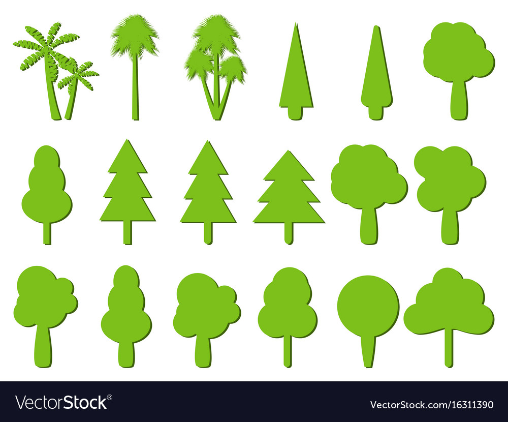 Flat trees tree icons with shadow.