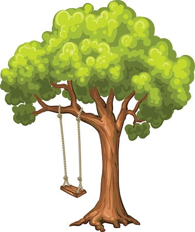 Swing on tree in park. Clipart Image.