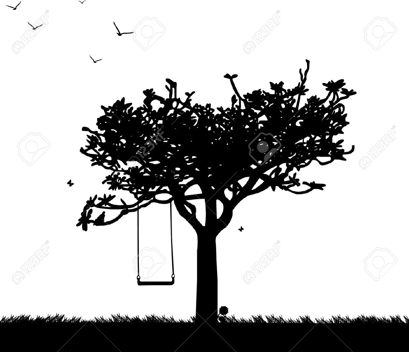 Tree Swing Clipart Black And White.