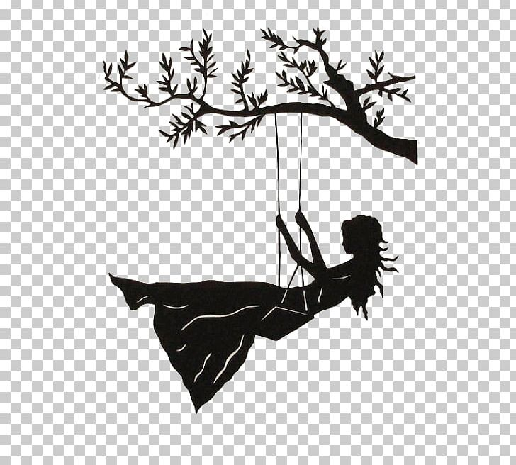 Silhouette Swing Drawing Art PNG, Clipart, Art, Black And.