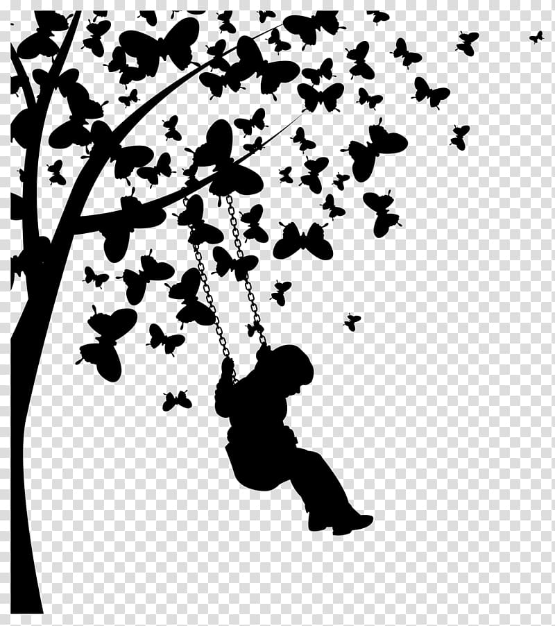 Butterfly Tree Euclidean , Butterfly girl swing transparent.