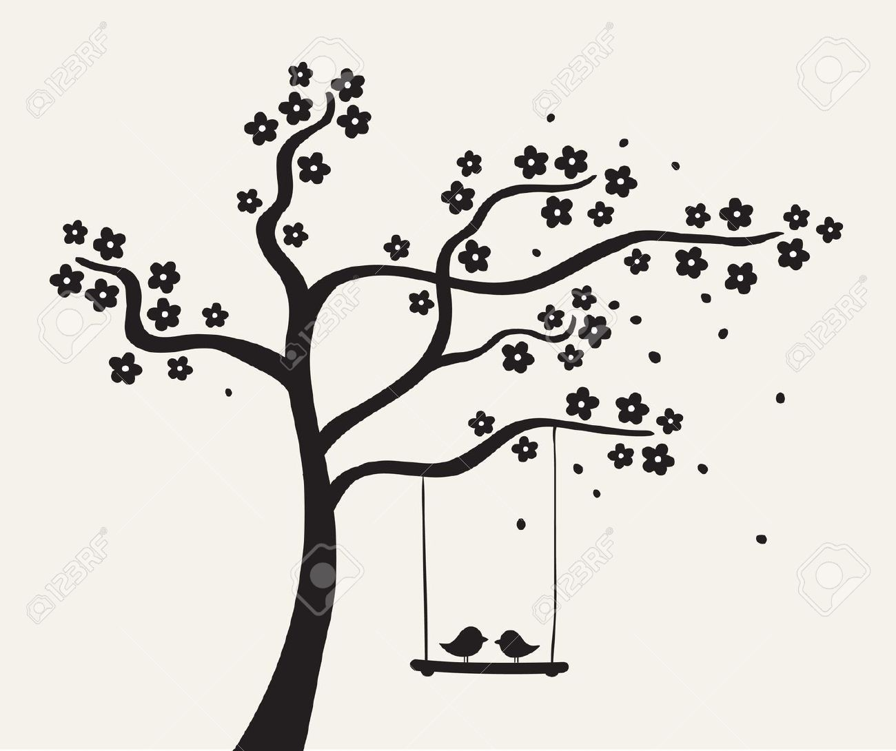 clipart tree of love black and white.