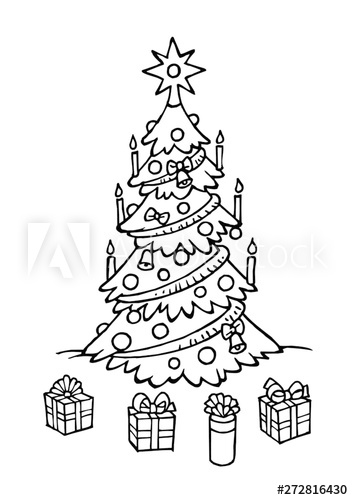Christmas tree with decorations and Christmas gifts, boxes.