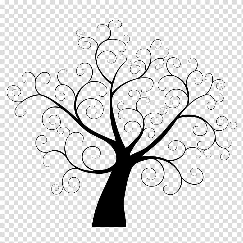 Tree illustration, Tree Fingerprint Template Guestbook.