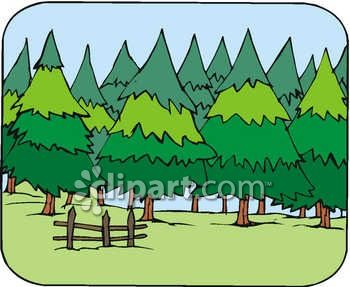Clipart Picture of Wooded Pasture On a Summer Day.