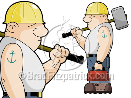 tree workers cartoon and clipart #8