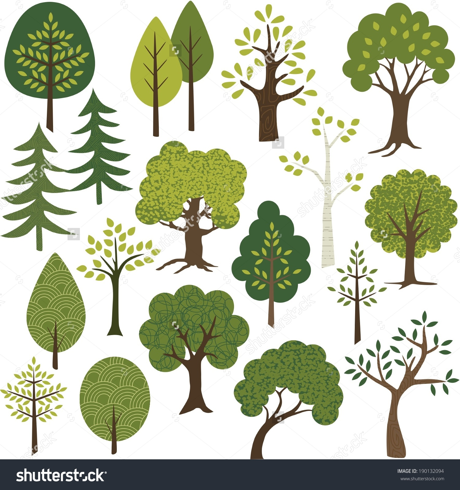 Tree Clip Art Stock Vector 190132094.