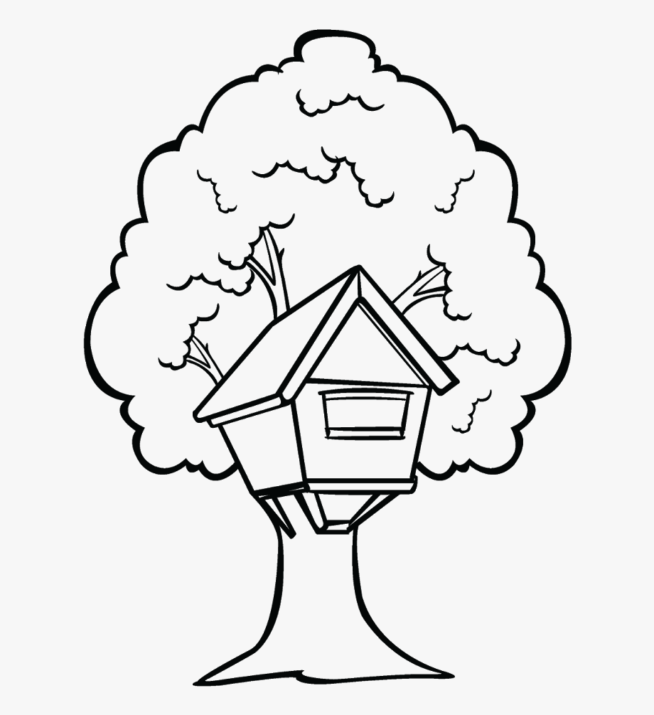 House With Trees Clipart Black And White Graphic Library.