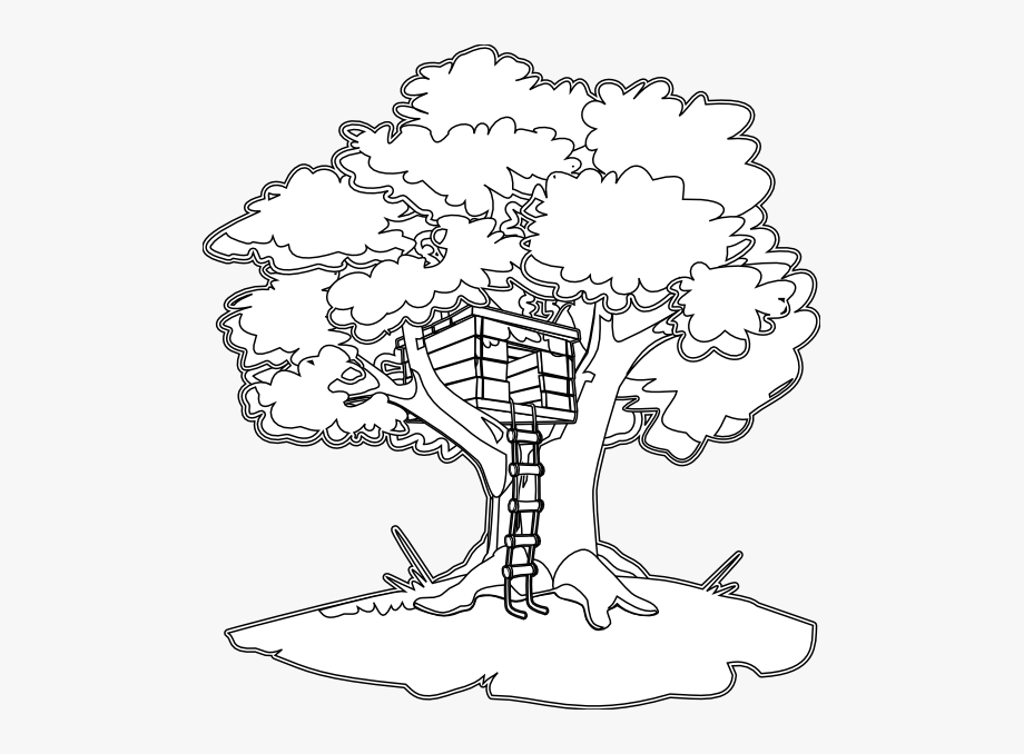 Tree House Black White Line Art Coloring Book Colouring.