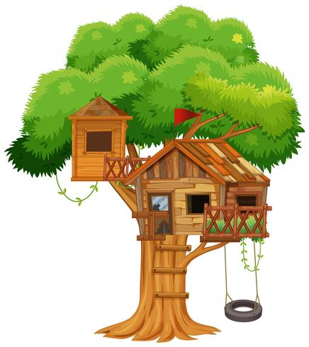 Treehouse with swing on the tree.