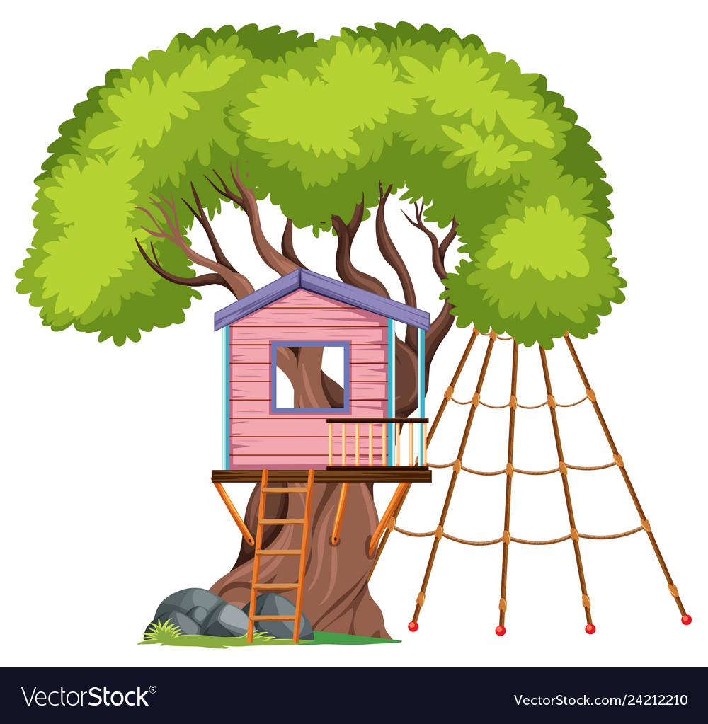 Isolated tree house on white background.