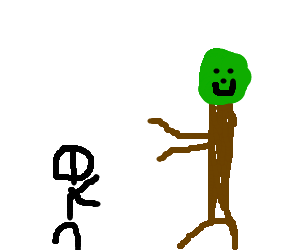 Man and smiley tree run in slow.