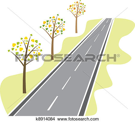 Clipart of trees along the road k8914084.
