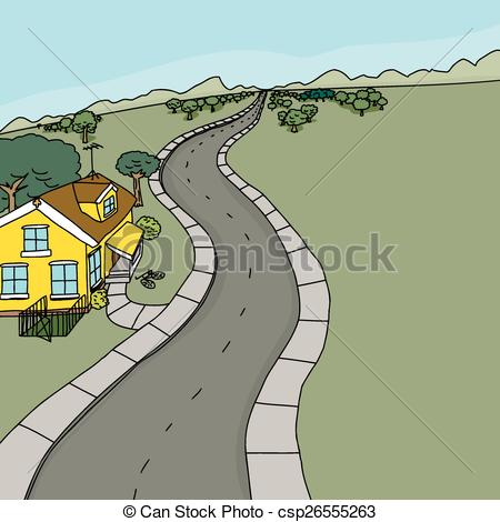 Clip Art Vector of Yellow House Along Road.