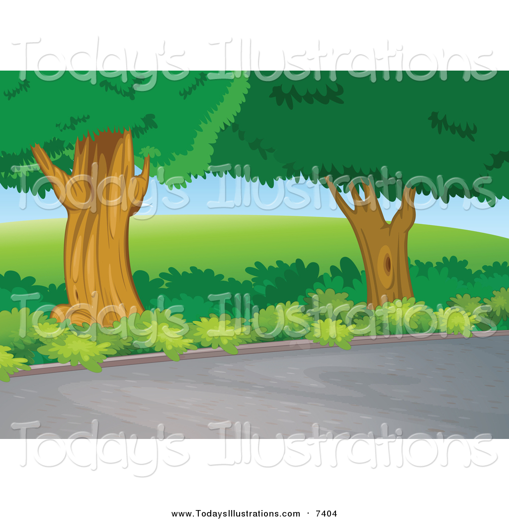 Clipart of Trees Beside a Road by colematt.