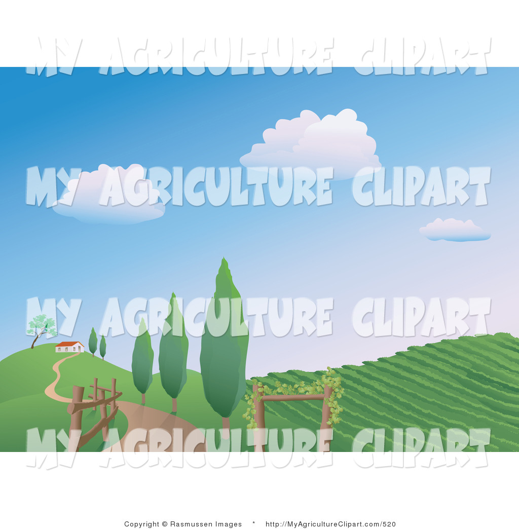 Vector Agriculture Clipart of a Winding Country Road Along a Fence.