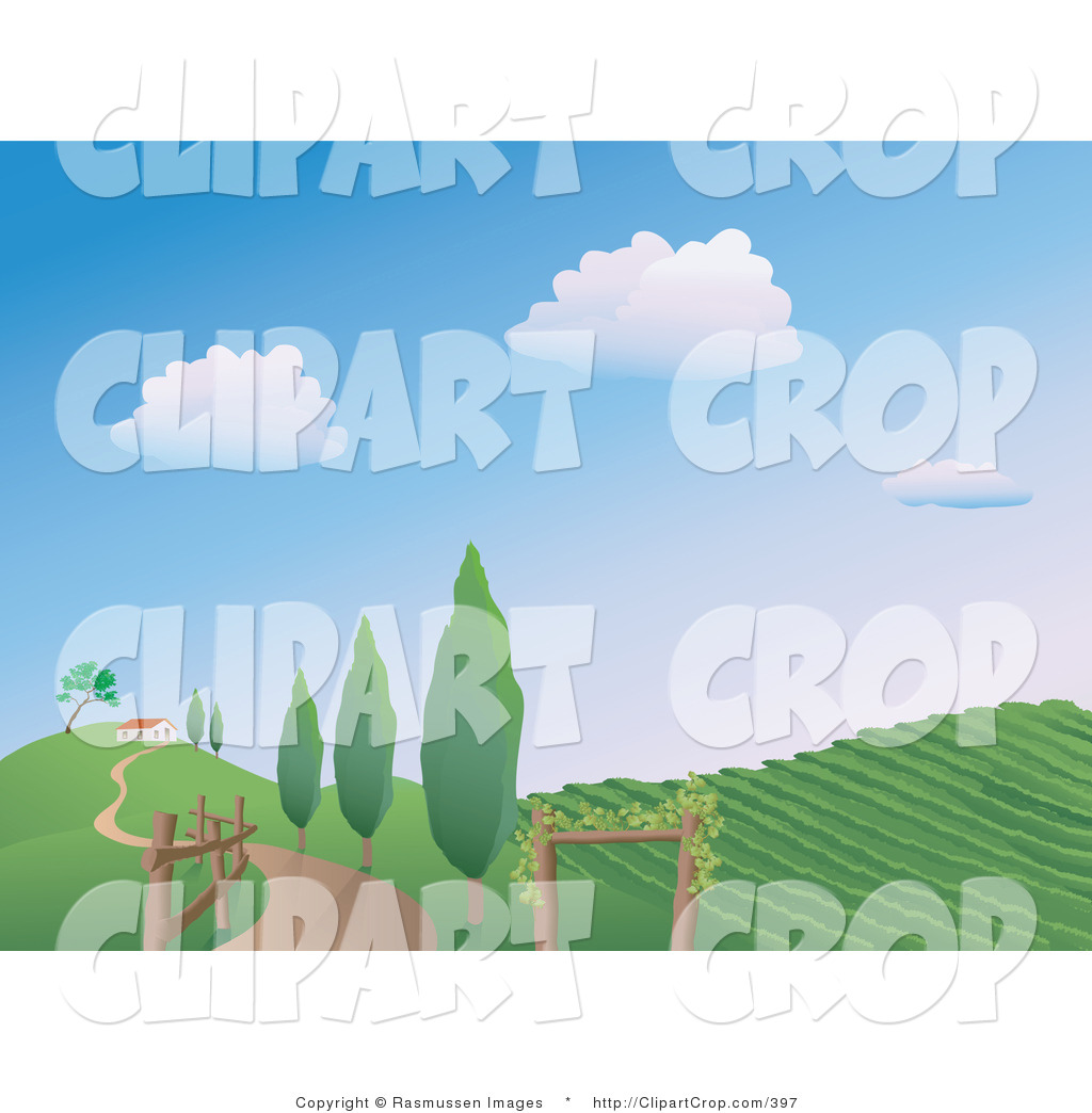 Clip Art Vector of a Winding Country Road Along a Fence and Trees.