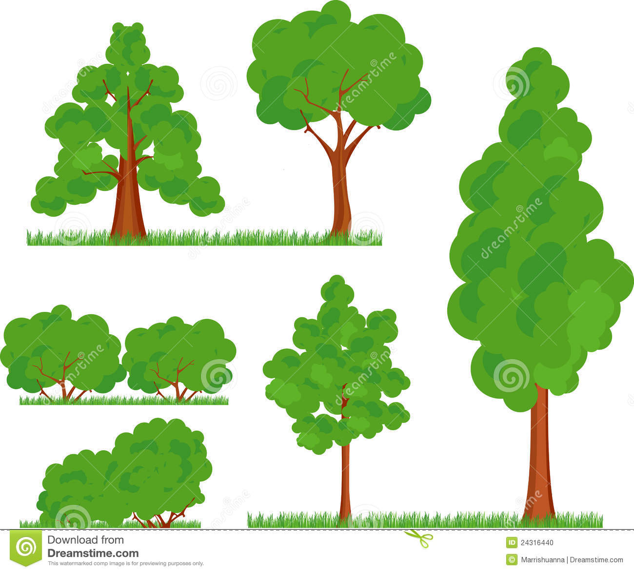 Tree and bush clipart.
