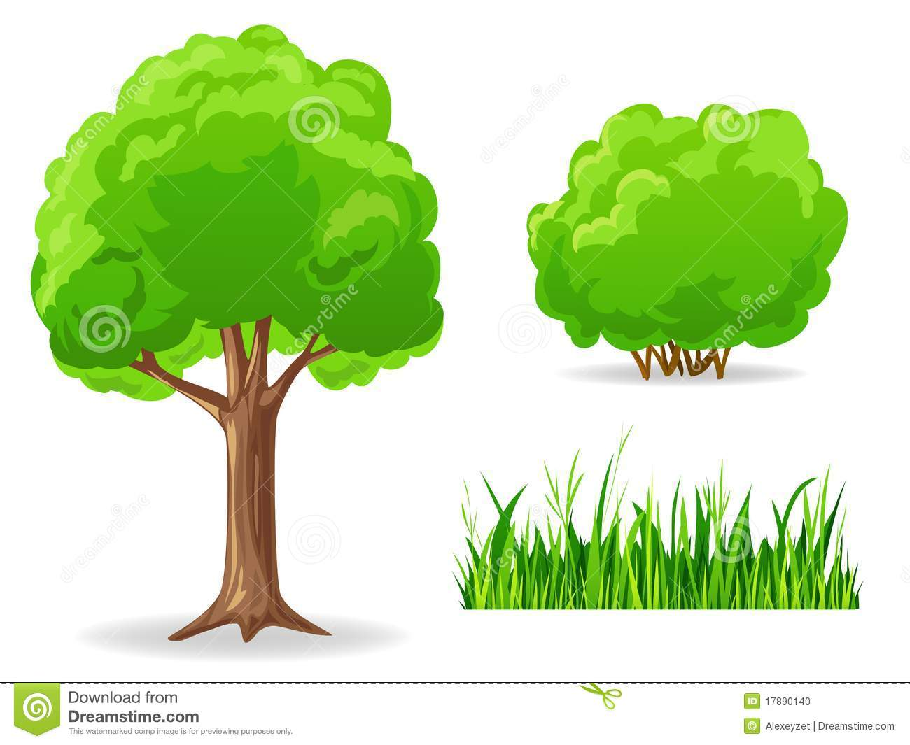 Tree and bush clipart.