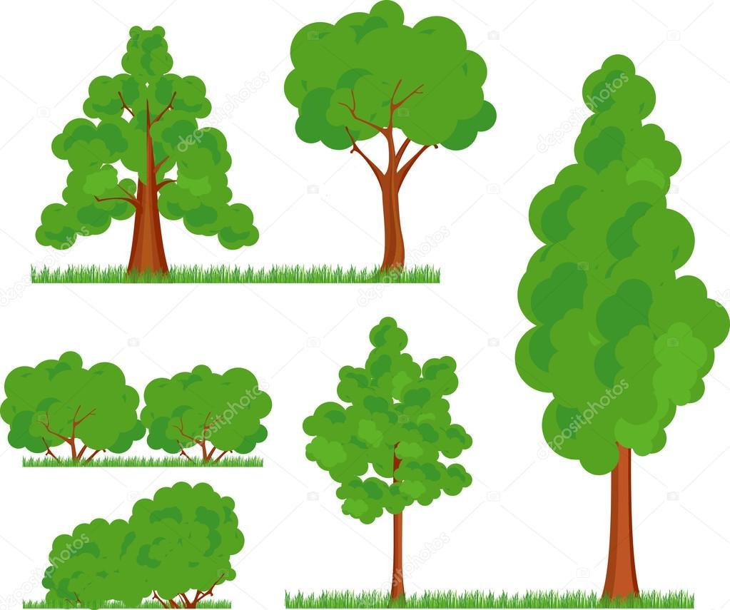 Bush trees grass — Stock Vector © marrishuannna #10040770.