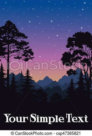 Landscape, Trees and Mountains.