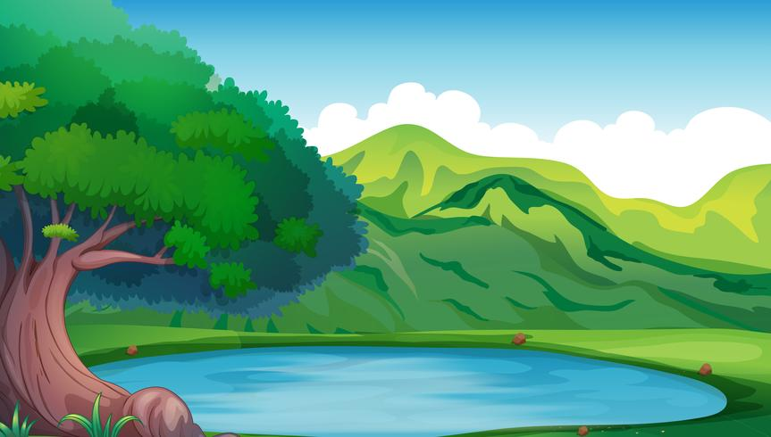 Background scene with pond in the mountain.
