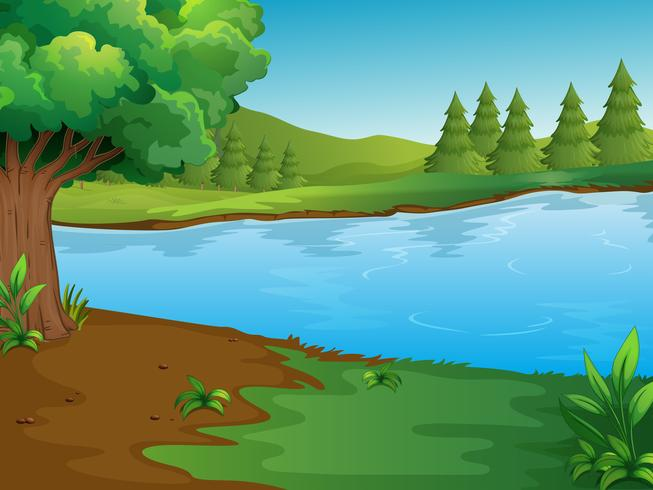 River scene with trees and hills.
