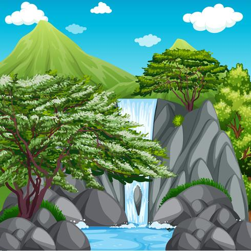Nature scene with waterfall in mountains.