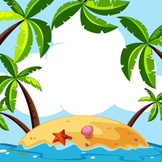 Background scene with coconut trees on island Vector.